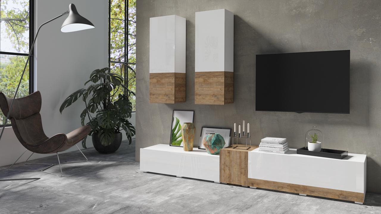 MEBLINE Systémový nábytek POWER I Bílý - sandal dub