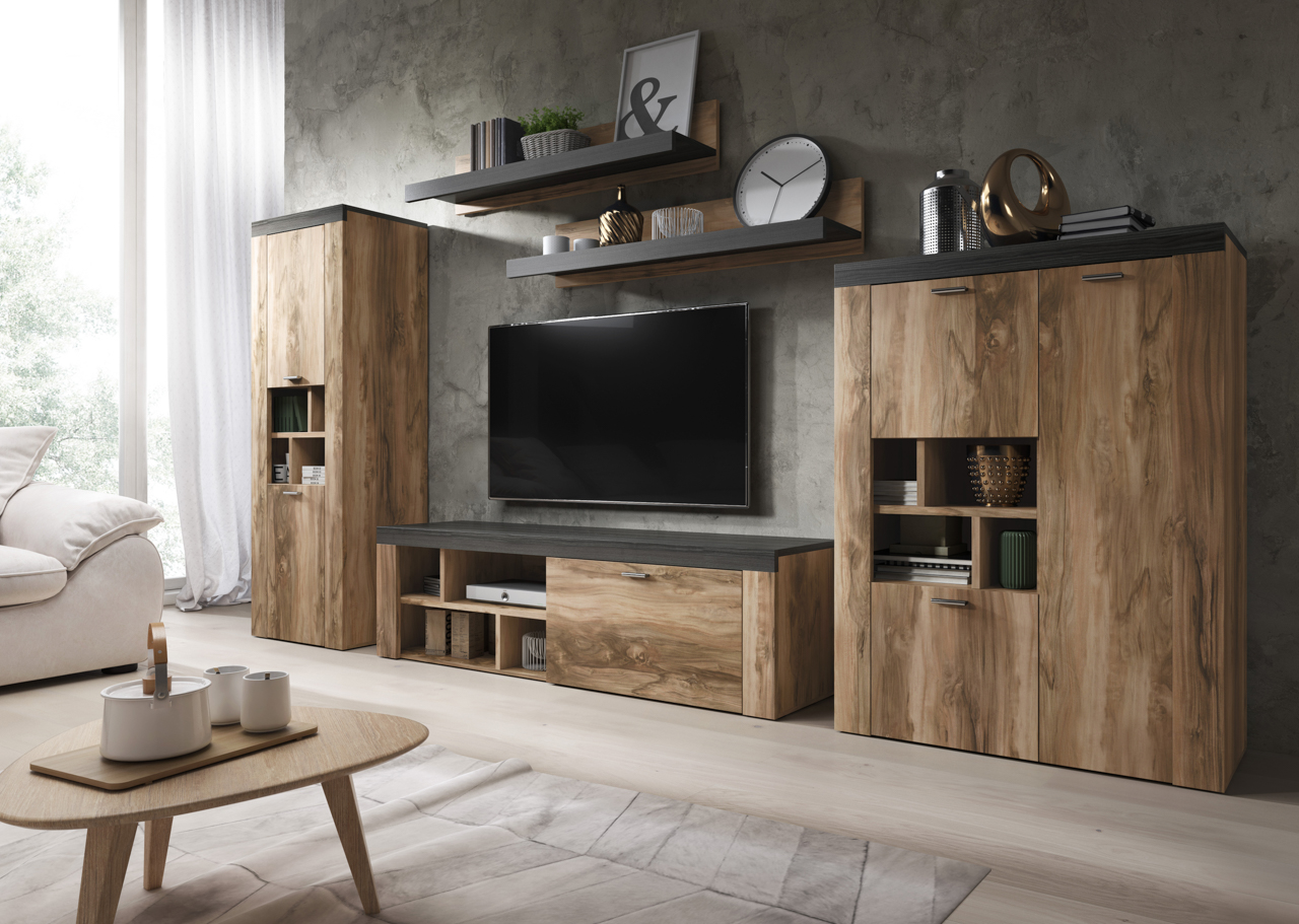 MEBLINE Systémový nábytek AMY 1 Satin nussbaum / Touchwood