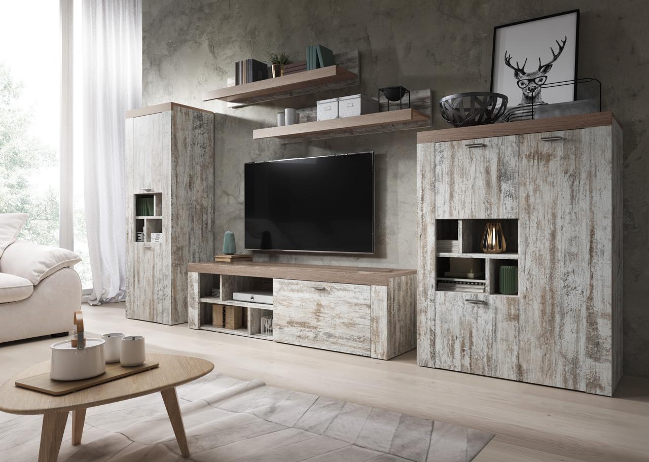 MEBLINE Systémový nábytek AMY 1 Canyon white pine / sonoma Trufel