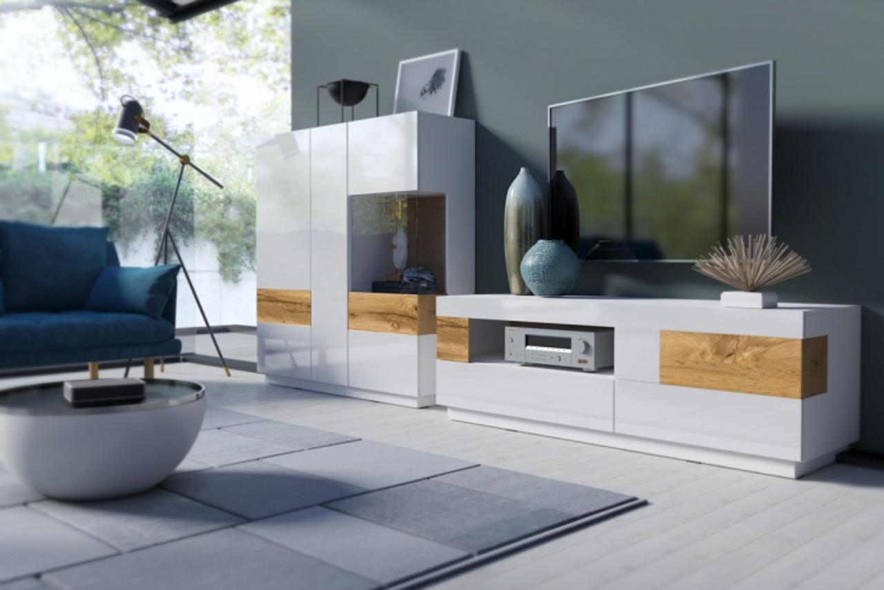 MEBLINE Systémový nábytek SILKE 1 Bílý / Bílý lesk - Wotan