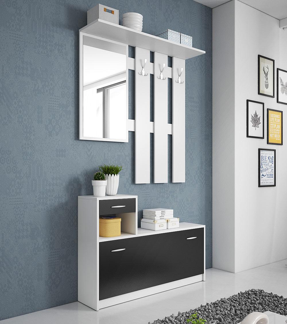 MEBLINE Moderni předsíňová stěna RUDOLF Bílý / Černý