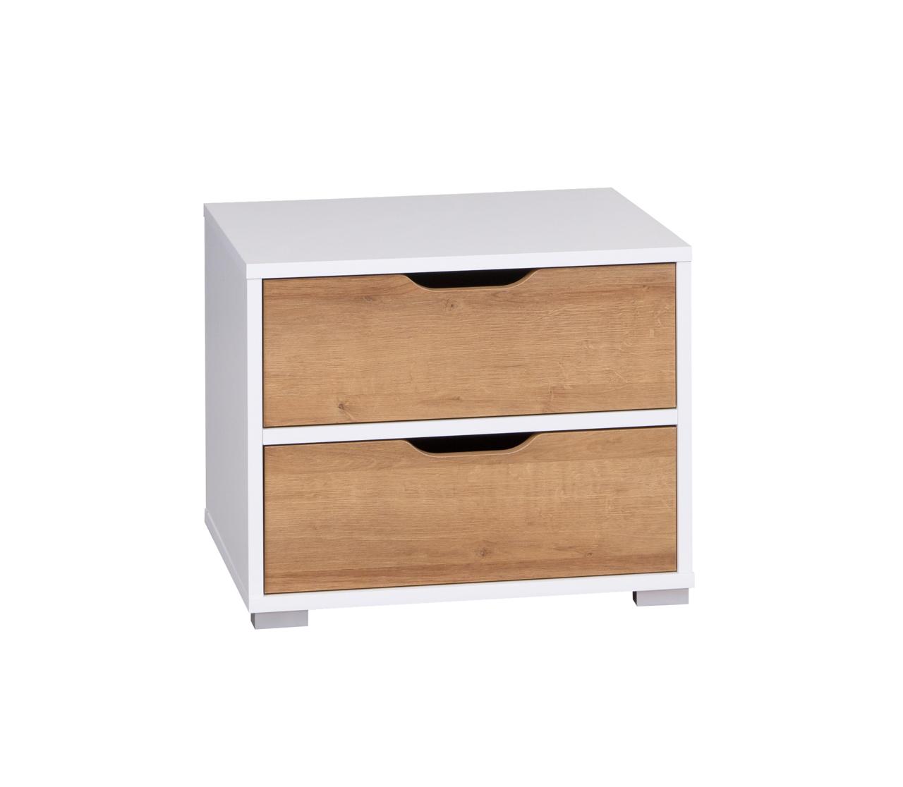 MEBLINE Noční stolek IW11 IWA Bílý / Dub zlatý