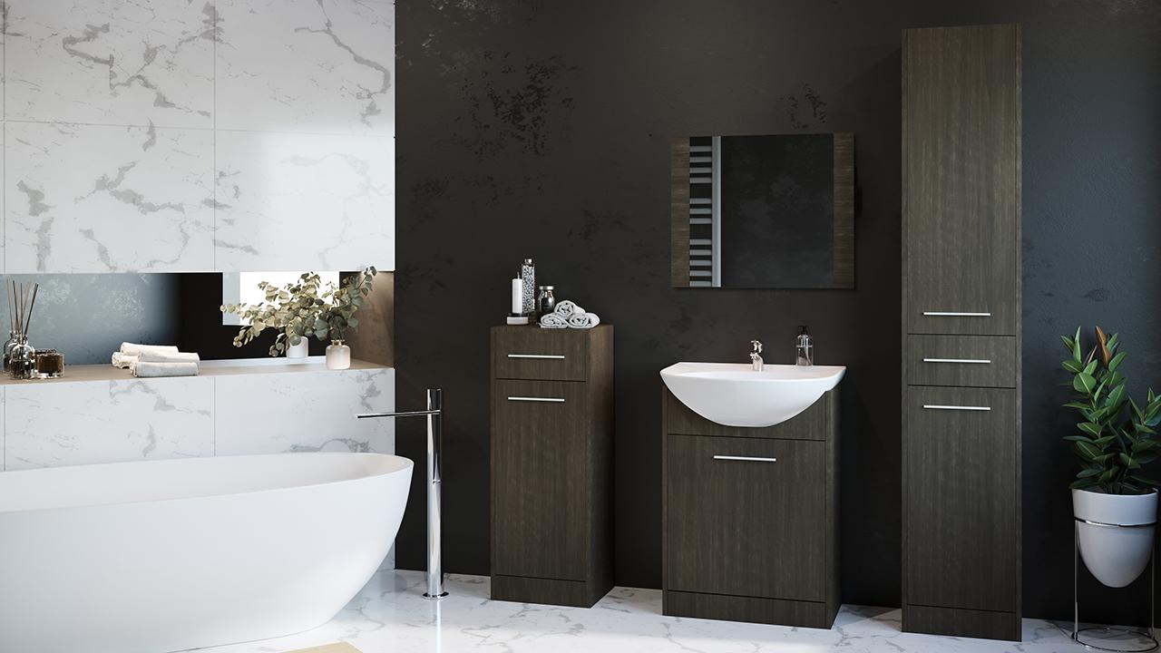 MEBLINE Moderní koupelna SLIM MINI wenge