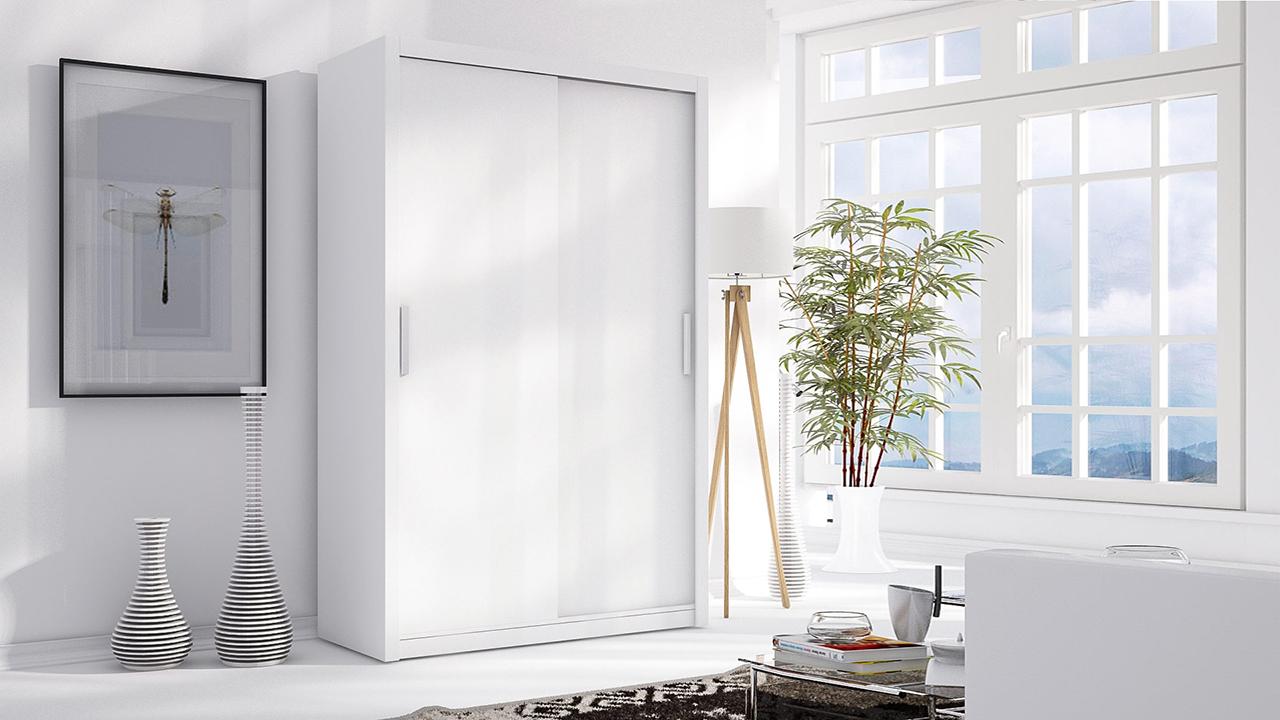 MEBLINE Skříň s posuvnými dveřmi LONDON 120 bílý mat