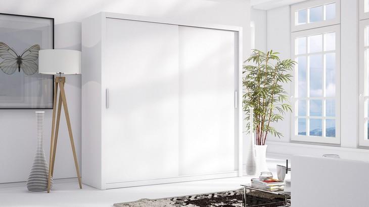 MEBLINE Luxusní šatní skříň s posuvnými dveřmi LONDON 200 bílý mat