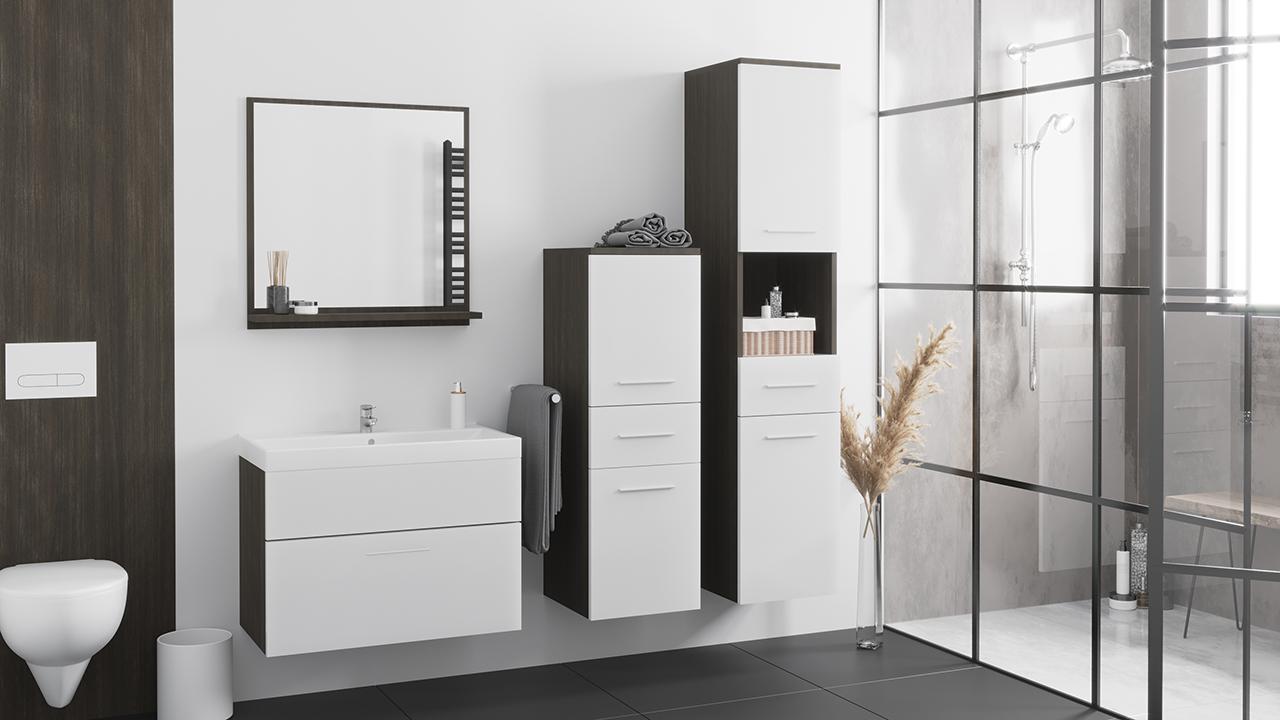 MEBLINE Koupelna LUPO wenge / bílý laminát