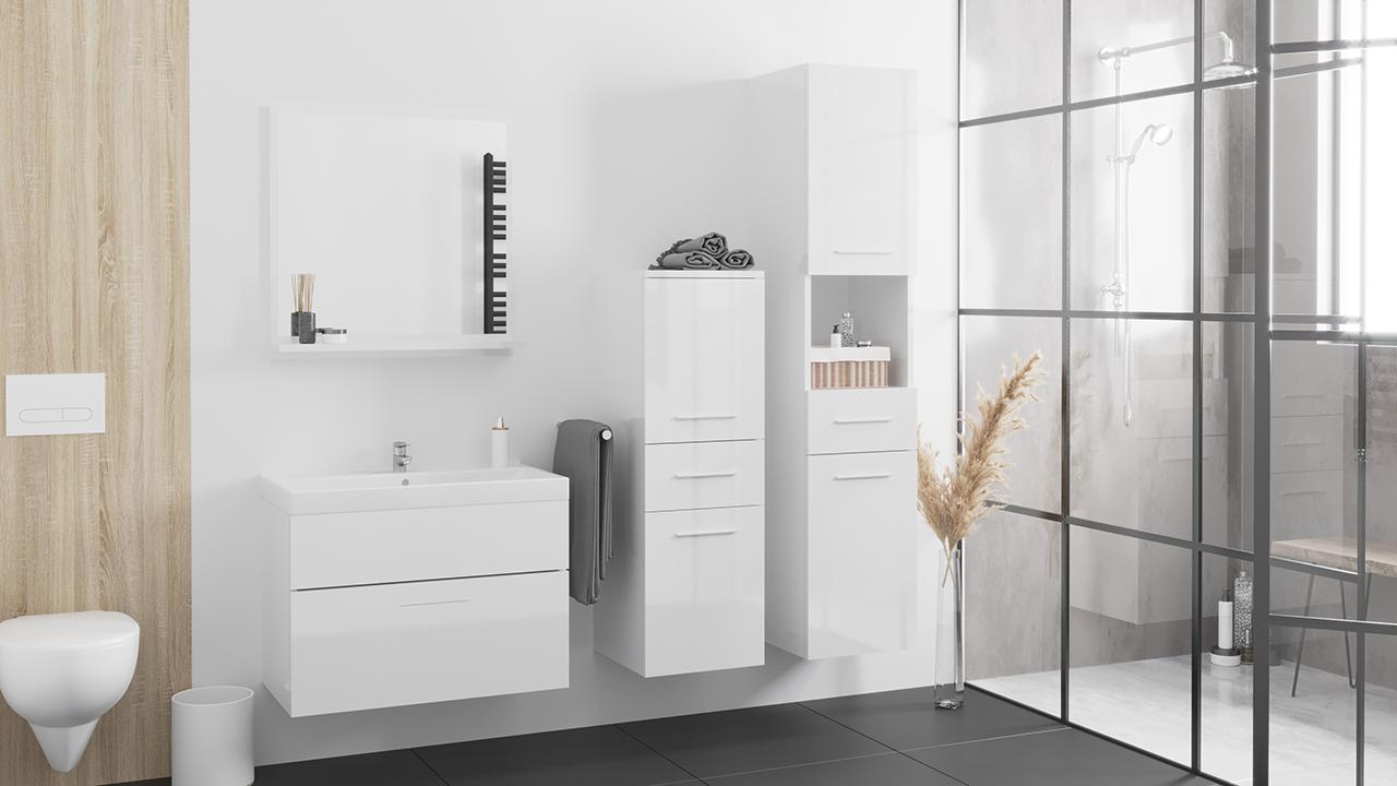 MEBLINE Luxusní koupelna LUPO bílý lesk