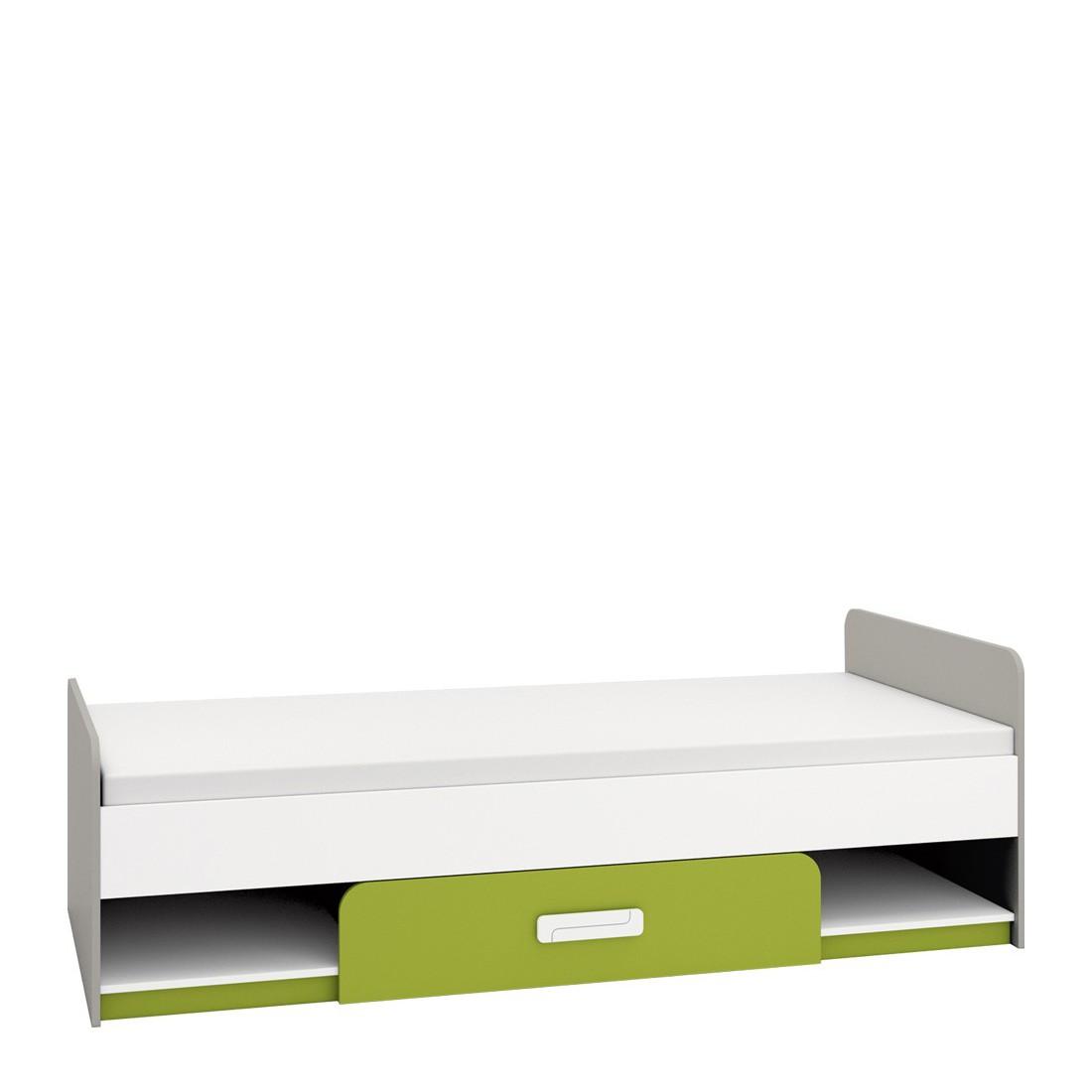 MEBLINE Lůžko 90x200 AIQ AQ12 šedá platina / bílá / zelený