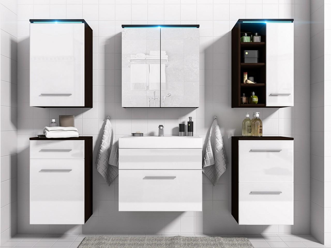 MEBLINE Koupelna MEGI wenge / bílý lesk