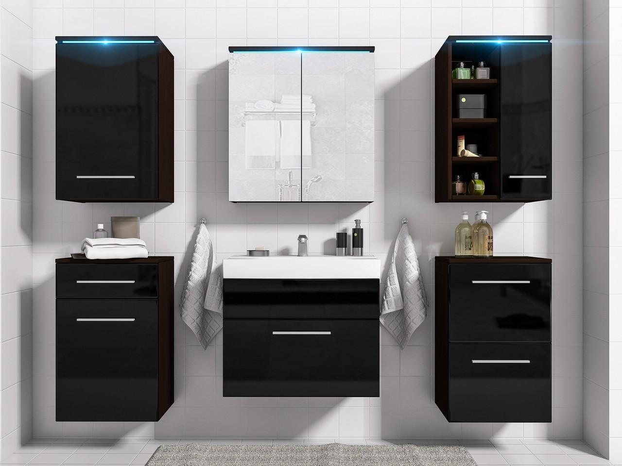 MEBLINE Luxusní koupelna MEGI wenge / černý lesk