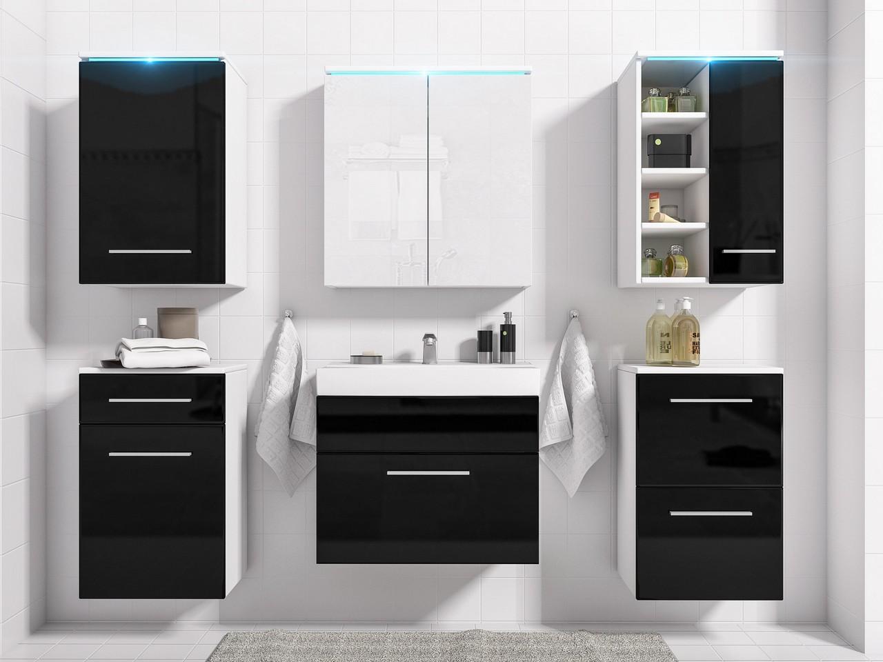 MEBLINE Koupelna MEGI bílý / černý lesk