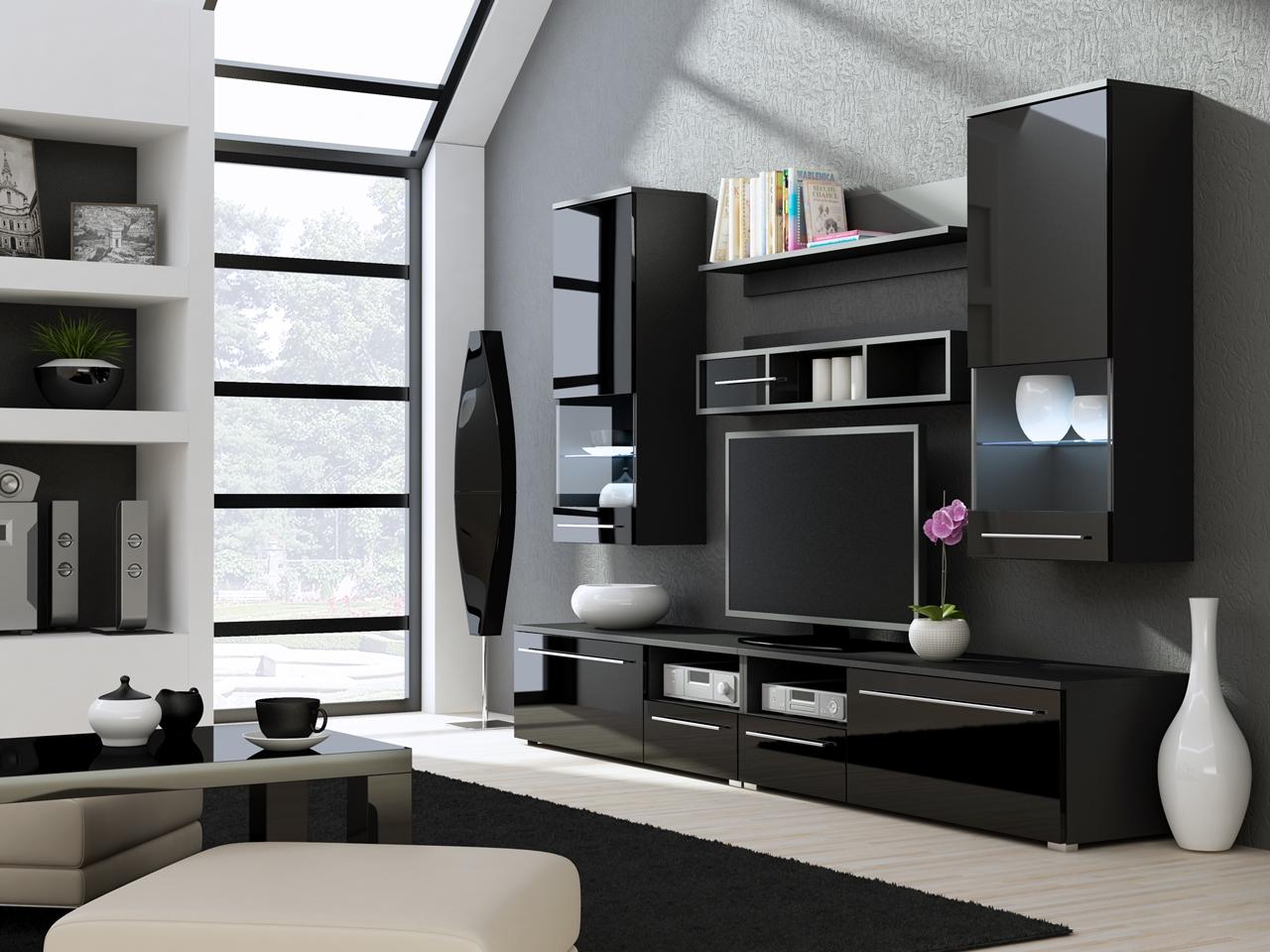 MEBLINE Obývací stěna LUNA E černý lesk