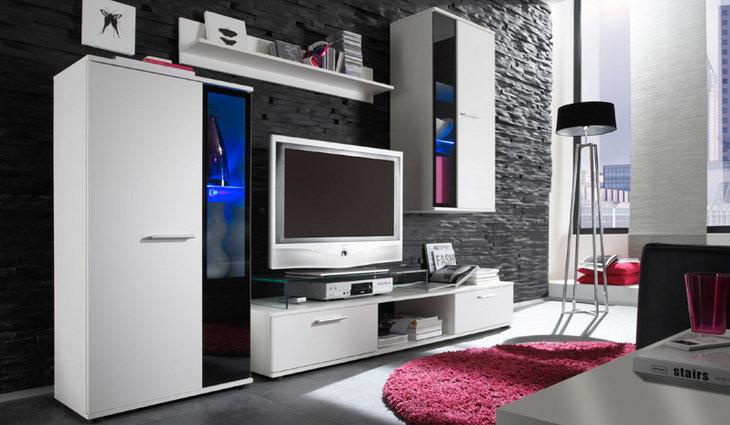 MEBLINE Moderní obývací stěna SIGMA bílý