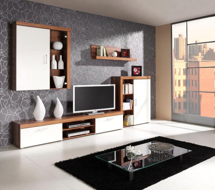 MEBLINE Moderní obývací stěna SAMBA sestava 1 švestka / krémový