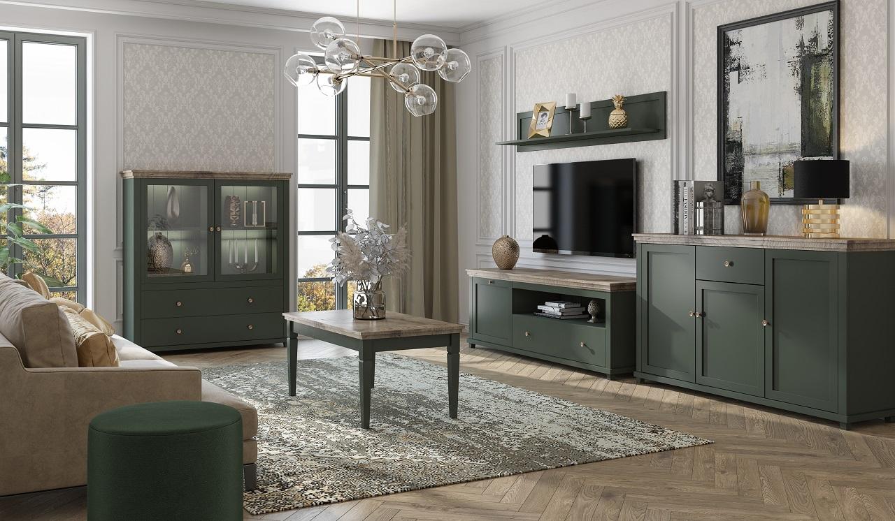 MEBLINE Systémový nábytek EVORA 1 zelený / dub lefkas
