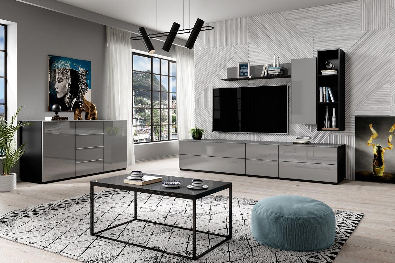 MEBLINE Systémový nábytek HELIO 1 černá / šedé sklo