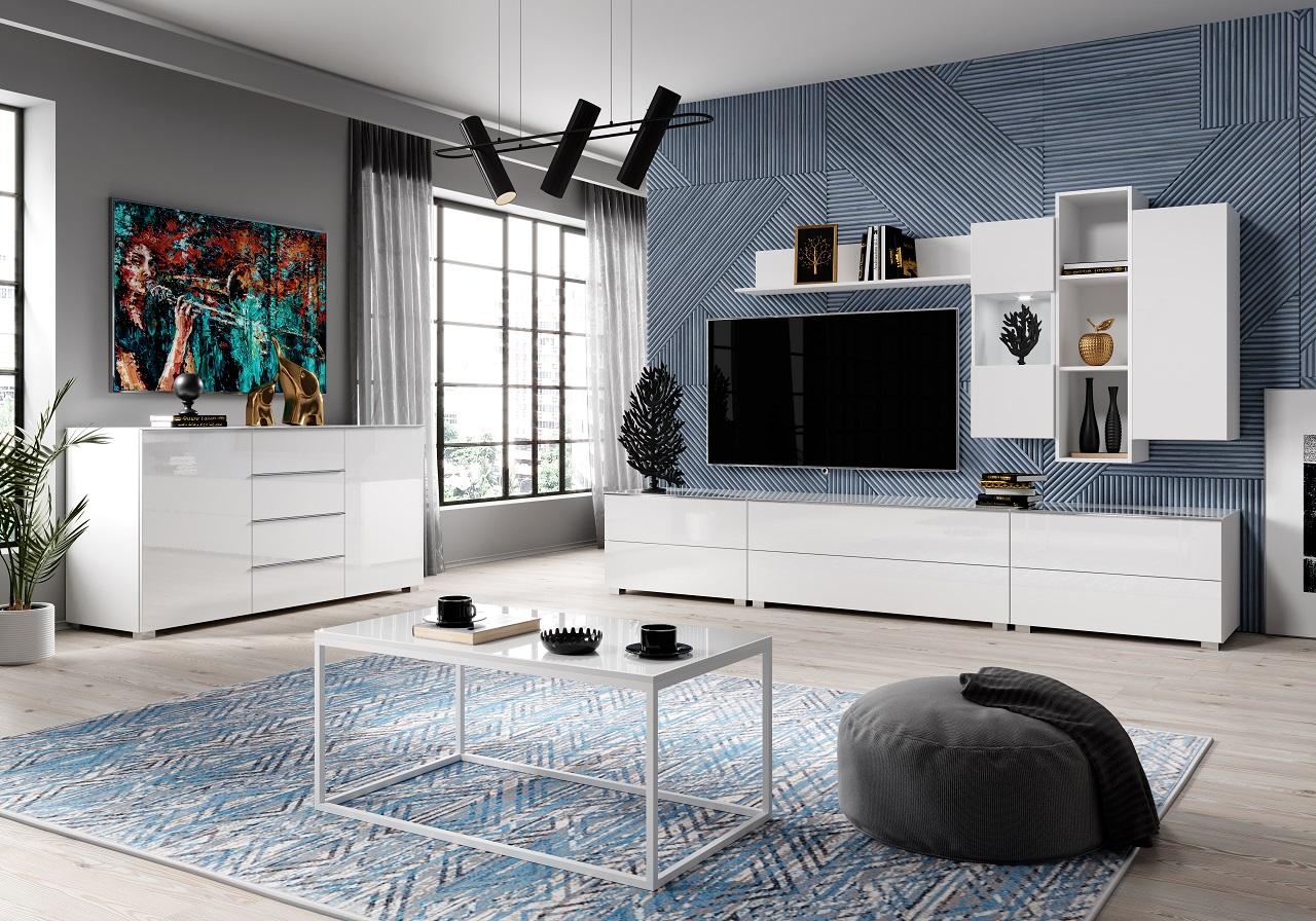 MEBLINE Systémový nábytek HELIO 2 bílý / bílé sklo