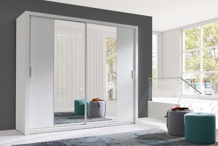 MEBLINE Luxusní šatní skříň s posuvnými dveřmi VISTA 200 bílý mat