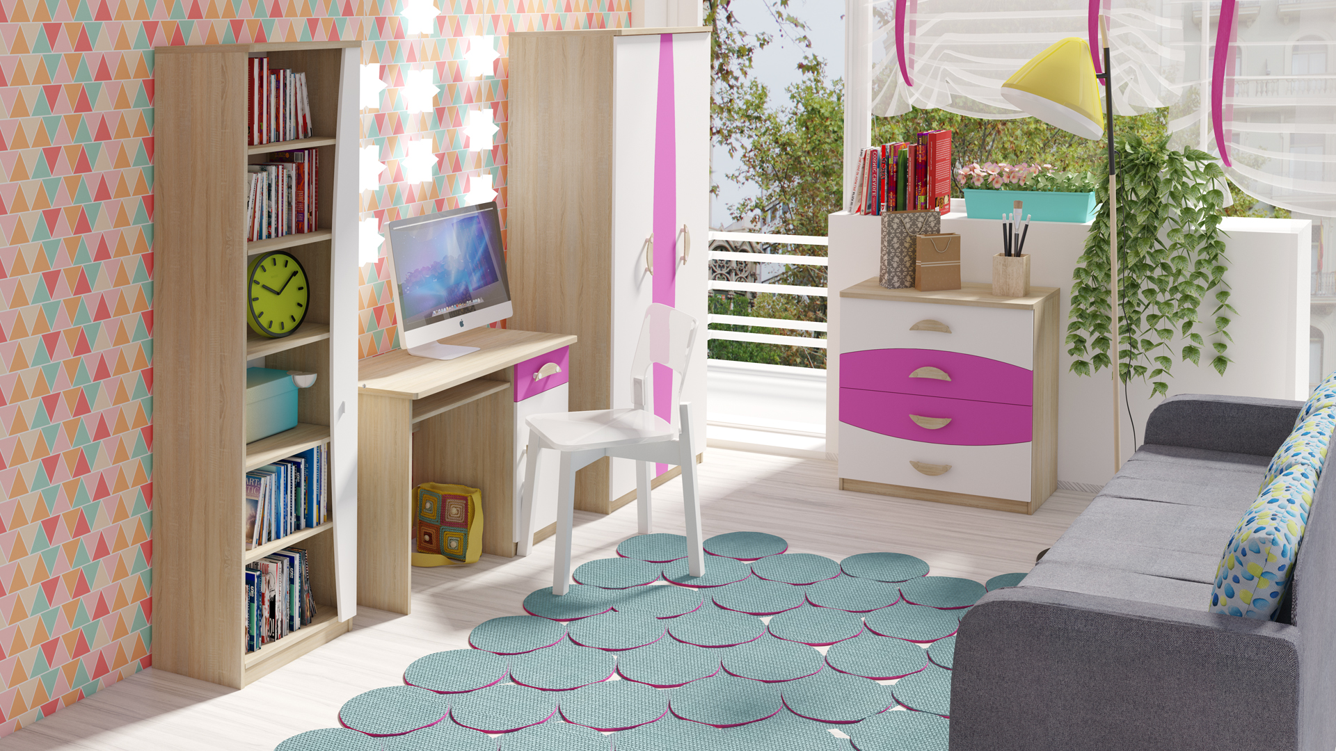 MEBLINE Trendy nábytek do dětského pokoje TENUS II Sestava 2