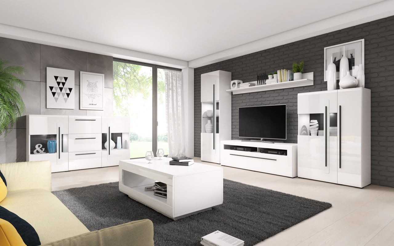 MEBLINE Systémový nábytek TULSA 1 Bílý laminát / Bílý lesk